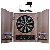 Aboygo Dartautomat Cabinet, Elektrisches Dartboard mit Türen, Dartboard mit 12 Dartpfeilen und Ersatzspitzen, 27 Spielen und 243 Varianten für 16 Spieler Partys und Spieleabende, 2 Türen Brown