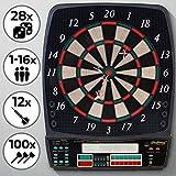 Physionics Elektronische Dartscheibe | 28 Spiele, 12 Soft Pfeile und 100 Ersatzspitzen, LED Anzeige | Profi Dartspiel, Dartboard, Dartautomat