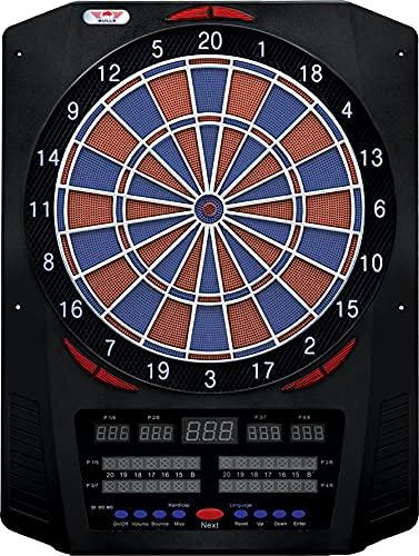 Bull's NL Dartautomat Universum Pro Elektronik Dartboard Softtip Board Elektronische Dartscheibe Soundeffekt mit 6 Dartpfeilen 40 Verschiedene Spiele (Blau/Rot)