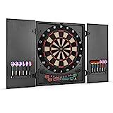 OneConcept Dartmaster 180 Dartautomat elektronische Dartscheibe E-Darts (Spielcomputer, 150 Spielvarianten, bis zu 8 Spieler, virtueller Gegner, LED-Anzeigen, 12 Pfeile, schwarz