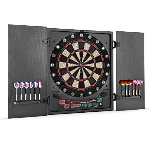 OneConcept Dartmaster 180 Dartautomat elektronische Dartscheibe E-Darts (Spielcomputer, bis zu 8 Spieler, virtueller Gegner, LED-Anzeigen, 12 Pfeile) schwarz